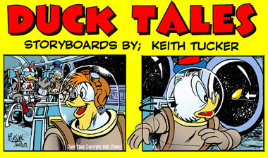 Duck Tails, Scrooge McDuck's Adventures, 80's cartoons, Saturday morning cartoons, Launchpad McQuack, Beagle Boys, Gizmoduck, Disney TV cartoons, Disney comics, Walt Disney Television Animation, keith tucker storyboards,animation